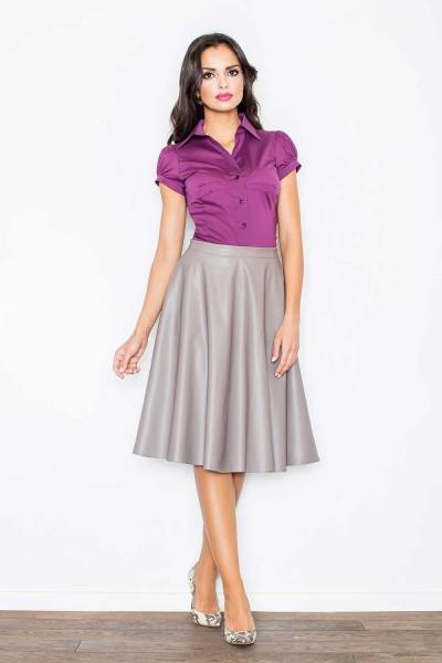 Smėlio spalvos odinis sijonas